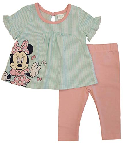 Minnie Mouse Disney Baby Girls Top and Leggings Set, Mint Stripe (3-6 Months)