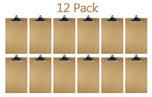 Paper Clipboard - Clipboard With Premium Sturdy Metal Clip – 12 Pack 9x15.5 Inches Heavy Duty and Durable - School Supplies - Office Materials - By Kidsco ()