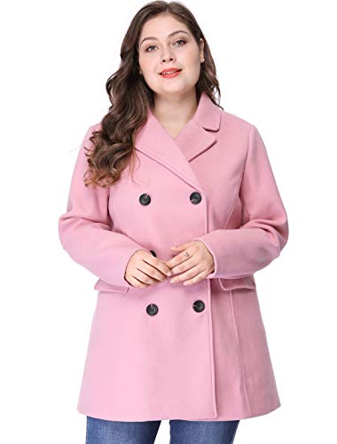 Agnes Orinda Women's Plus Size Notched Lapel Double Breasted Long Coat 2X Pink