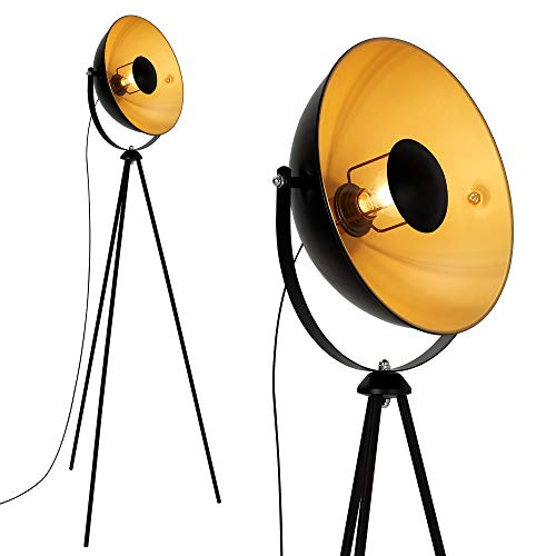 Briloner Leuchten Staande Ledlamp, Studiolamp, Max. 60W Vintage Lamp, metaal, E27, Mat Zwart-Goud, 580X345X1480mm LxDxH
