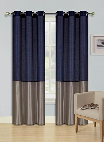 GorgeousHomeLinen EID 1PC NAVY BLUE  TAUPE 2 Tone Faux Silk Window Curtains Foam Lined Blackout Panel Top Silver Grommets in 4 Sizes 84quot