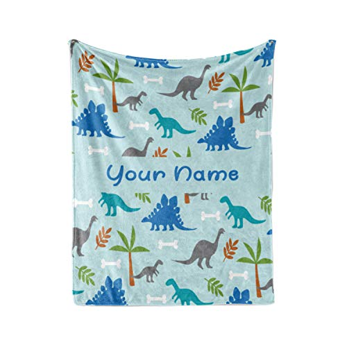 Personalized Corner Custom Light Blue Dinosaur Fleece Throw Blanket for Kids - Boys Girls Baby Toddler Infants Blankets for Bed (50x60 Inches)