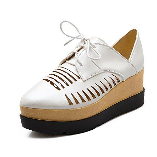 AgooLar Damen Rein PU Hoher Absatz Spitz Zehe Schnüren Pumps Schuhe Weiß