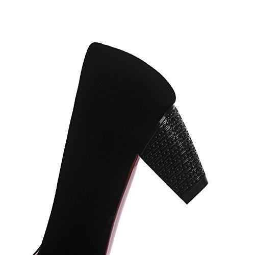 Medio Di Tacco Ballerine Nero Tirare Donna Odomolor Puro Scarpe Pelle Mucca Chiusa A Punta tXwqYgw