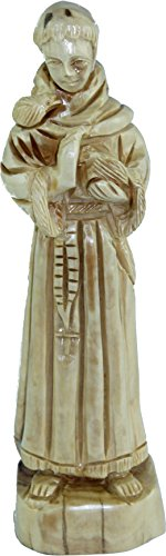 Holy Land Market Saint Francis of Assisi carved in Olive Wood figure Statue - 8.4 Inches