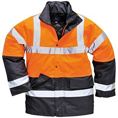 Portwest Hi Vis Contrast Traffic Jacket Visibility Work Raincoat, ANSI 3:2 (L) by Portwest