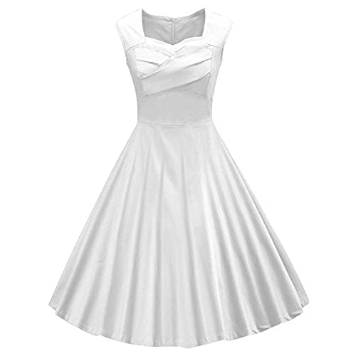 VOGVOG Womens 1950s Retro Vintage Cap Sleeve Party Swing Dress, White No Lace, X-Large