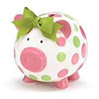 Girls Pink & Green Circles Pig Piggy Bank Green Bow Ceramic Personalized Baby...