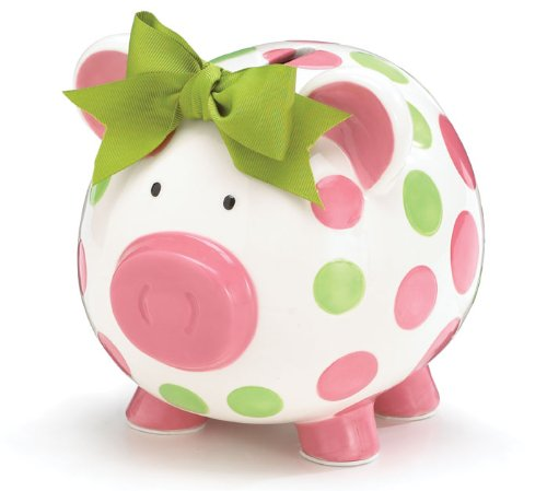 Girls Pink & Green Circles Pig Piggy Bank Green Bow Ceramic Personalized Baby Nursery Decor Burton & Burton 437161