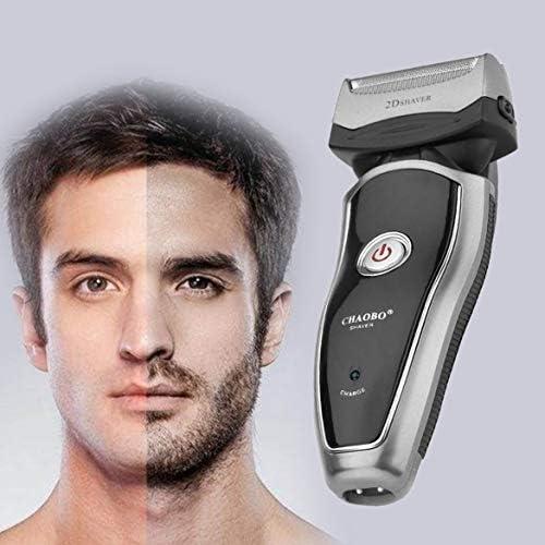 Poderosa máquina de afeitar eléctrica recargable inalámbrica eléctrica portátil para hombre Barba máquina de afeitar Groomer Herramienta de cuidado facial de doble cara Trimmer (negro y plateado): Amazon.es: Belleza