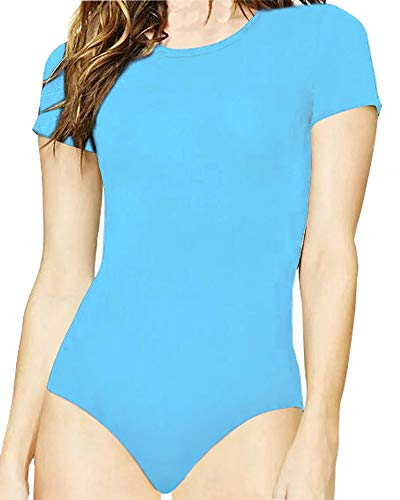 MANGOPOP Women's Round Neck T Shirts Basic Bodysuits (Baby Blue, Medium) ()
