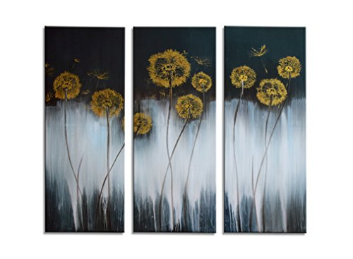 HLJ ART Modern Hand-painted Oil Paintings Golden Flower on Black White Background Strethed and Framed Canvas Wall Décor for Living Room