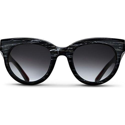 Triwa Women's Olivia Wayfarer Sunglasses, Black, Silver Pattern & Transparent Burgundy Temple Tips, 55 - Triwa Sunglasses