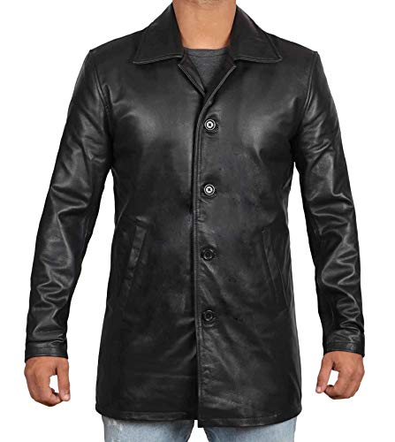 Decrum Mens Black Leather Trench Coat | Super Black, XXL