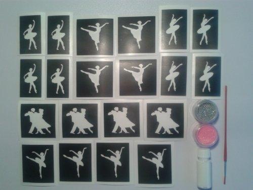 Dancer glitter tattoo set including 20 stencils + 2 glitter colors + glue Dance ballet ballerina ballroom girls fund raising