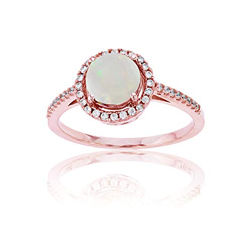 (14K Rose Gold 0.20 CTTW Round Diamond & 7mm Round Opal Halo Ring)