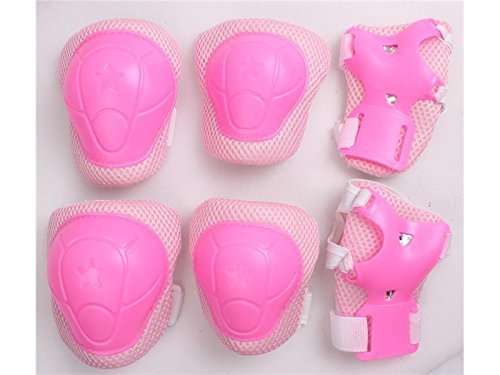 Wetietir Skating 6 Pcs/Set Kid's Protective Gear Set with Elbow Knee Handguard for Roller Skating Skateboard BMX Scooter Cycling (Pink L) for Protection by Wetietir