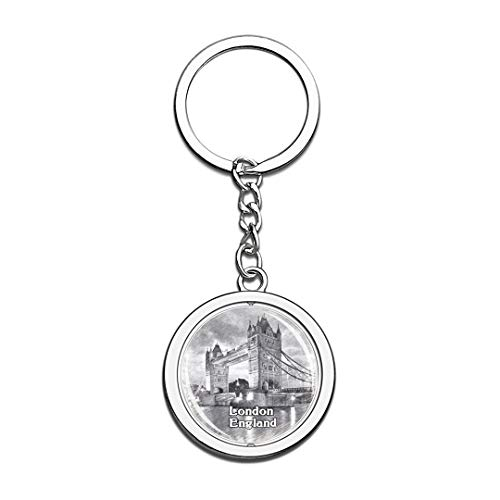 UK London Tower Bridge Sketch Keychain 3D Crystal Spinning Round Stainless Steel Keychains Travel City Souvenirs Key Chain Ring -