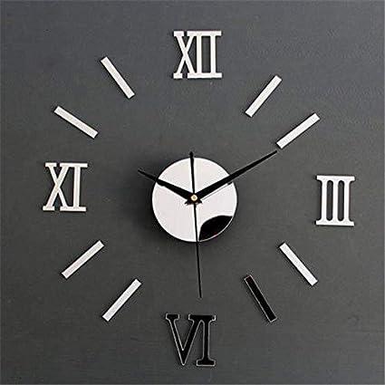Snner números Romanos Etiqueta de la Pared del Reloj de Pared Plata de la Manera Decoración