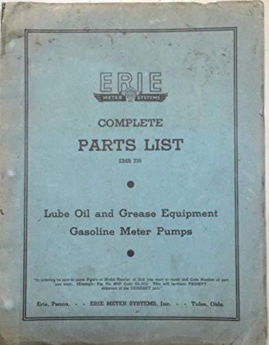 Vintage gas pump antique gas station pump Erie complete illustrated parts manual