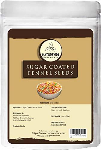 Naturevibe Botanicals Sugar Coated Fennel Seeds (Mukhwas), 1lb | Fennel Candy | Mouth Freshener | Helps Digestion