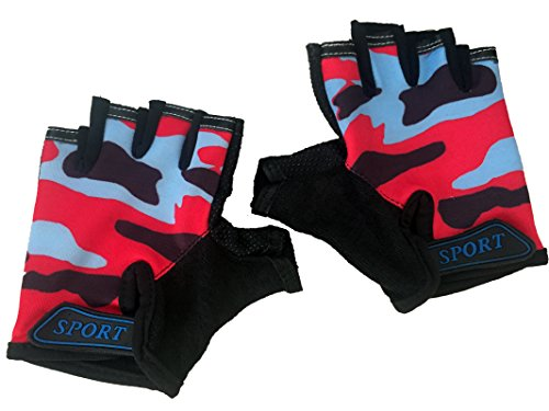 (Kids Bike Gloves Anti-slip Half finger Cycling Gloves for Children 4-12 Y (Red))