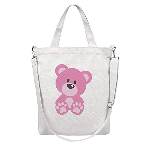 12.5X15 Inches Cute Zip Custom Design Canvas Large Tote Bag For Women Pink bear cute sweet Reusable Beach Work Gym Book Lunch School Shopping Shoulder -