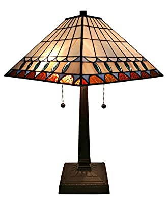 Amora Lighting AM238TL14 Tiffany Style Mission Table Lamp 21 In High