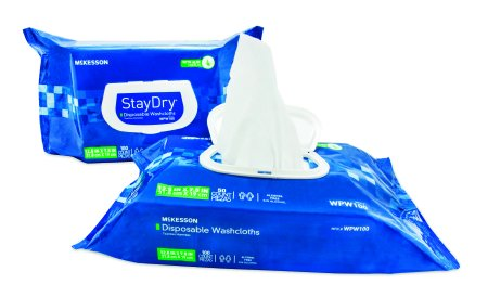 McKesson StayDry? Disposable Washcloths with Aloe, Pre-moistened, 8 X 12 Inch, Soft Pack - 1/Case of 600 by McKesson Premoistened Washcloths Case