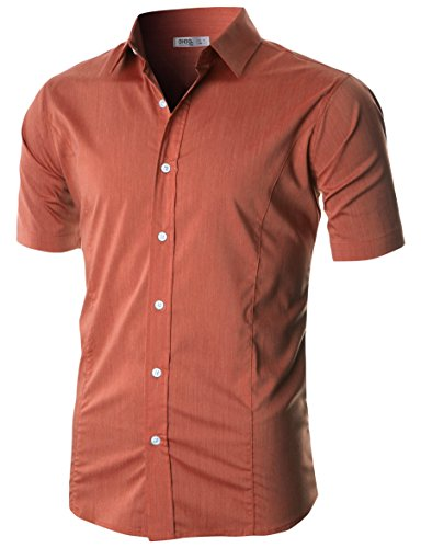 Ohoo Mens Slim Fit Short Sleeve Wrinkle Resistant Casual Button Down Shirt Added Darts/DCC100-ORANGE-L