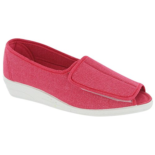 Mirak Touch Fastened Textile Lined Womens Summer Shoes - Red - Size 8