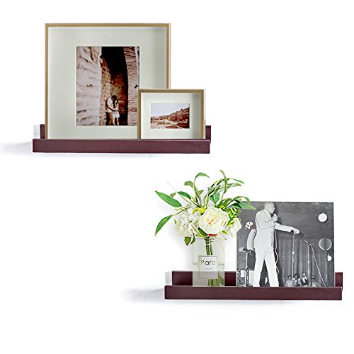e Floating Picture Display Ledge Wall Mountable Shelf, 4-inch Deep, Set of 2 pcs (Espresso Brown) ()