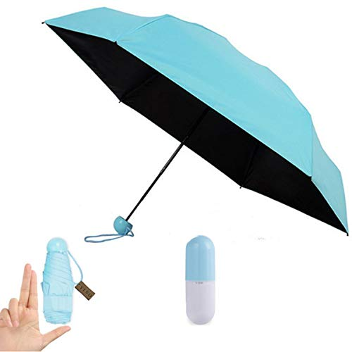 YINO Ultra Lights and Small Mini Umbrella with Cute Capsule Case,5 Folding...