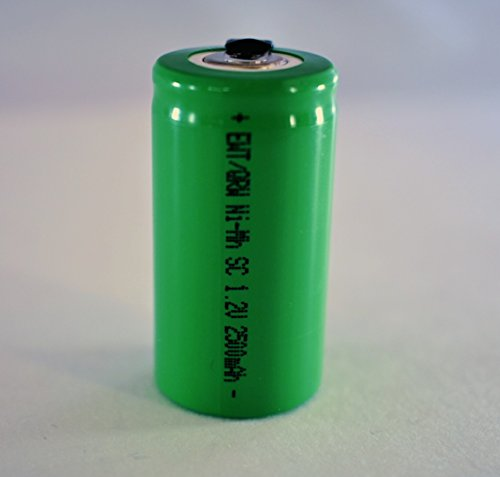 QRW 6 Pcs Sub C 2500mAh NiMh 1.2V Rechargeable Battery w/Tabs for POWER TOOLS, ETC by QRW
