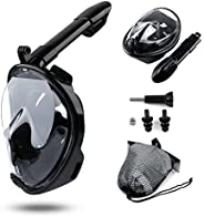 LEUCOTHEA Snorkeling Mask 180 Degree Panoramic View Full Face Diving Mask with Detachable Sports Camera Mount