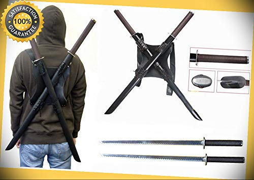 Tactical TWIN KATANA Dual Ninja Turtle Swords with Back Carrying Scabbard perfect for cosplay outdoor camping
