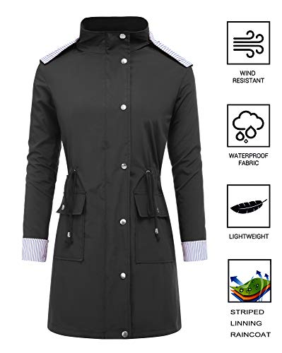 RAGEMALL Women's Raincoats Windbreaker Rain Jacket Waterproof Lightweight Outdoor Hooded Trench Coats