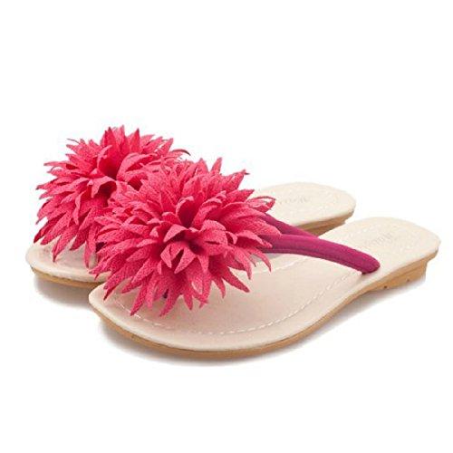 Infradito Donna Estate Fiore Flip-flop Esterno Antiscivolo Sandalo Estate Scarpette Da Spiaggia Rosso