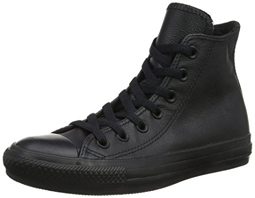 Converse  Chuck Taylor All Star Leather High Top Shoe, Black Mono, 8 B(M) US Women / 6 D(M) US Men