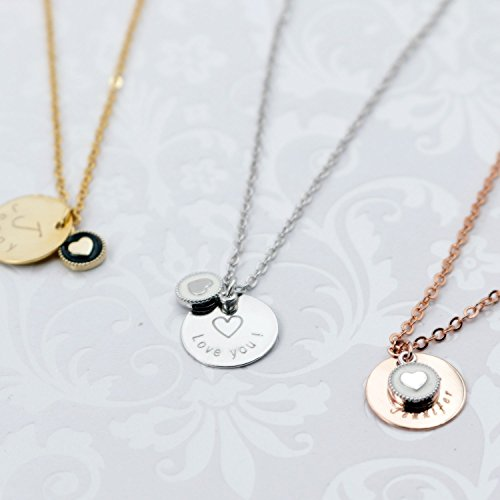 Super cute Disc Initial Heart Coin Necklace - Dainty Personalized Rose Gold Plated Disc Delicate Initial Charms Necklace Computer Engraving.
