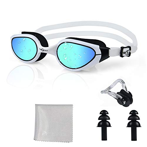 PHELRENA Swim Goggles, 2019 Electroplated Swimming Goggles, Anti Fog,No Leaking,UV Protection,Shatter-Proof, Clear Wide Vision Triathlon Swim Goggles for Women Men Adult with Free Nose Clip Ear Plugs