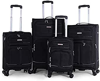 Giordano 6285451020553 Luggage Trolley Bags Set Of 4-Pieces- Black, Unisex