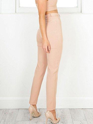 WanYang Mujeres Cintura Alta Color sólido Elegantes Flacas Pantalones Largos Casual Nuevas Lápiz Pantalones Caqui