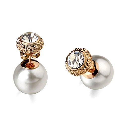 Dangling White Gold Stud - Pearl Dangle Earrings for Women, 18K Gold Plated , Art Deco Vintage Wedding Style for Pierced Earrings (White)