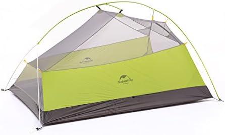 Naturehike Cloud-up ultraligero 3 persona tienda de campaña impermeable doble capa Camping tienda de campaña (20D Luz verde)