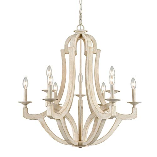 (CLAXY 9 Light Wood Chandeliers Distressed Off-White Candelabra Farmhouse Chandeliers)