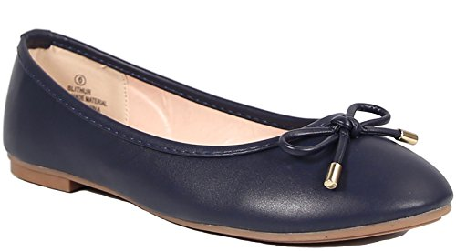 Steve Harvey Slithur Womens Fashion All-Vegan Adorable Bow Detail Flats, Navy, Size 10, US Bow Detail Flats