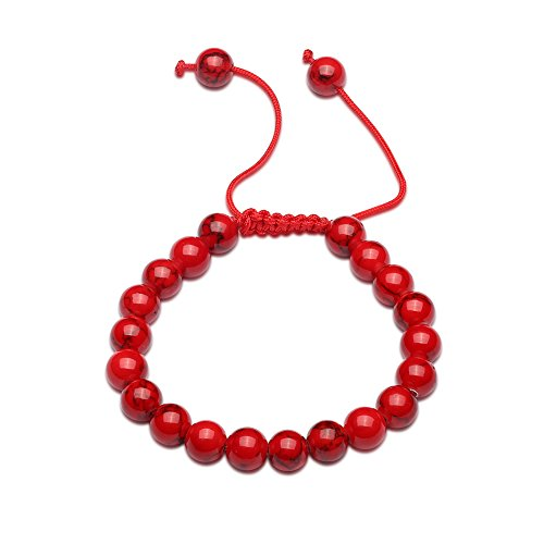 Red Glass Bracelet Bead (YamaziHD Natural Gemstone Loose Beads Bracelet, Crystal Energy Glass Stone Buddha Chain Bracelets for Women, Adjustable Size (Red))