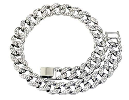 - Mens Iced Out Hip Hop Silver or Gold Tone CZ Miami Cuban Link Chain Choker Necklace