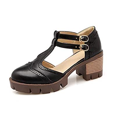 BalaMasa Womens ASL06067 Low-Top Clasp Closed-Toe Black Pu Platform Heels - 7.5 UK (Lable:43)